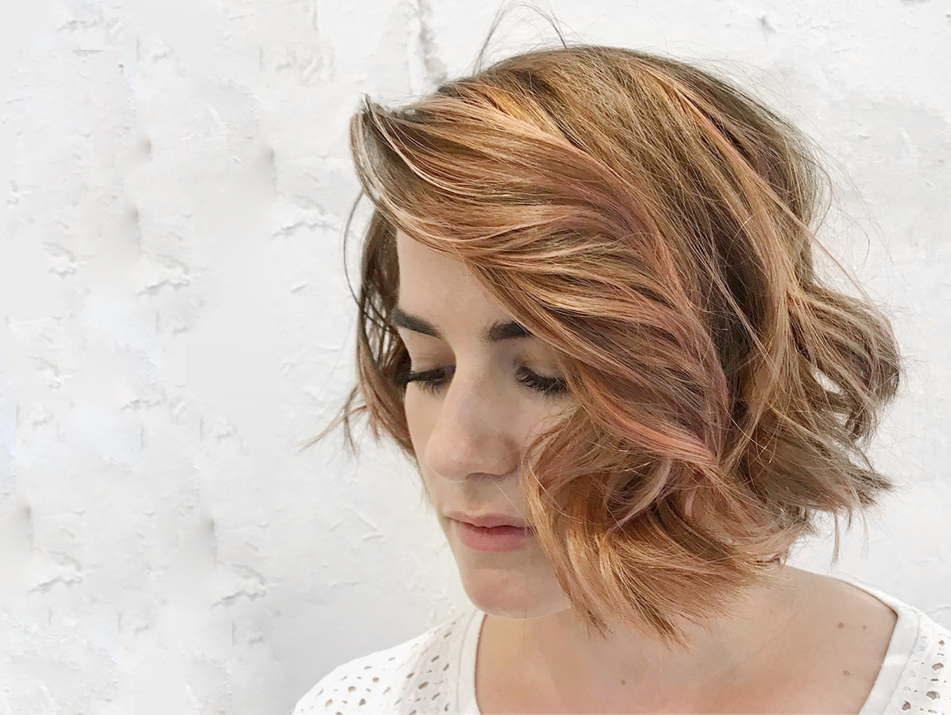 Rakis on Collins (Sharp Chin Length Bob with Pearly Rose Balayage by Creative Director Danny Puopolo