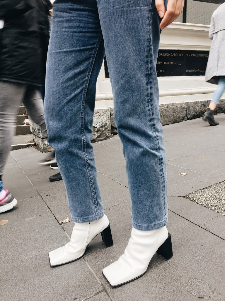 Zoom in on jaw dropping Courtney's square toed Balenciaga white leather boots
